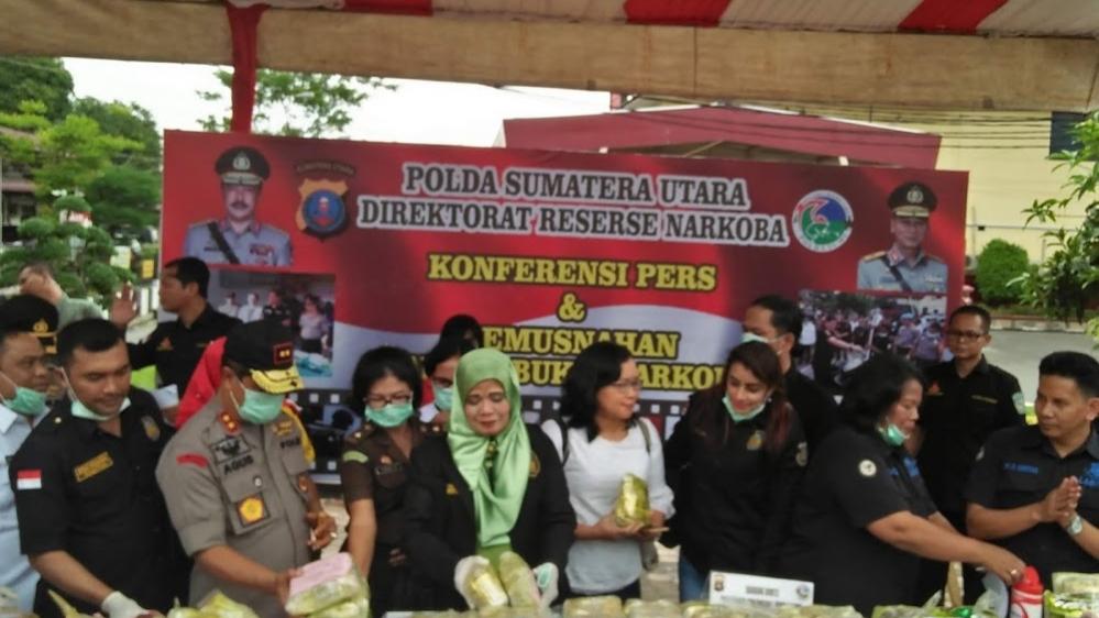 Kapolda Sumut Konferensi Press Pengungkapan Kasus Narkotika Jenis Shabu