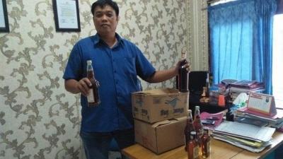 Polsek Per Cut Sei Tuan Sita Puluhan Botol Miras