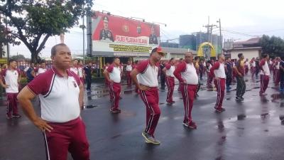 TNI-Polri, Polres Belawan Dan Marinir Gelar Senam Bersama