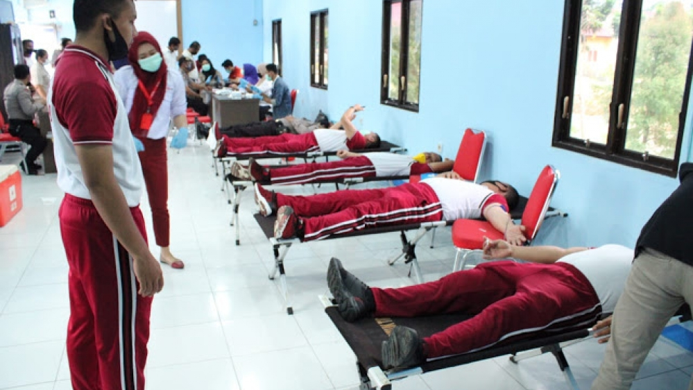 Polres Sergai Dalam Menyambut Ultah ke 74 Bhayangkara Gelar Donor Darah Seluruh Abggota