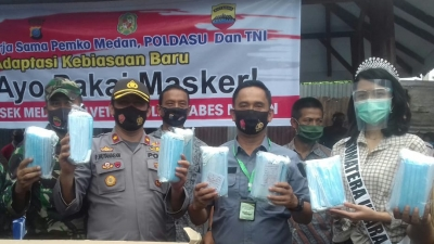 Dirkrimum Polda Sumut Serahkan 20 Ribu Masker Untuk Dibagi-bagi Kepada Masyarakat