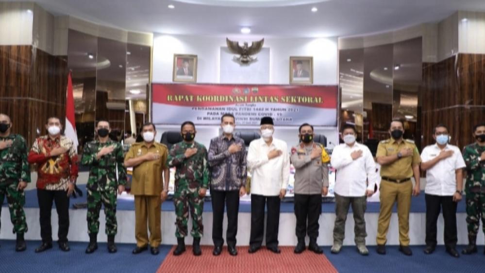 Rapat Koordinasi Lintas Sektoral Kesiapan Idul Fitri 1442 H, Kapoldasu, Wagubsu dan Pangdam I/BB